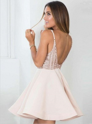 Sexy Sequined Spaghetti Strap Open Back Homecoming Dress | Short Party Gown_3