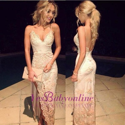 2019 Champagne Prom Dresses Side Slit Lace Spaghettis Straps Open Back Sheath Evening Gowns_1