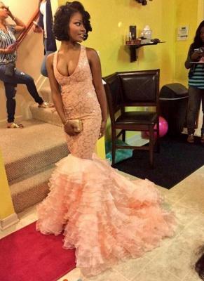 Pink Ruffles Sequins Sleeveless Prom Dresses | Mermaid Crisscross Back Evening Dresses_1