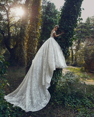 Princess Off The Shoulder Sweetheart Backless Lace Floral Ball Gown Wedding Dresses | Sequin Bridal Gown_2