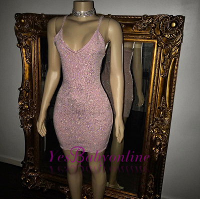 Short Sequins Pretty Spaghetti-Straps Homecoming Dress_1