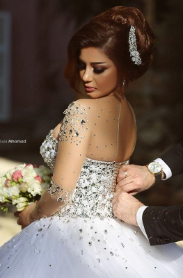 Charming Ball Gown Wedding Dresses Beading Crystals Sheer Long Sleeves Bridal Gowns_4