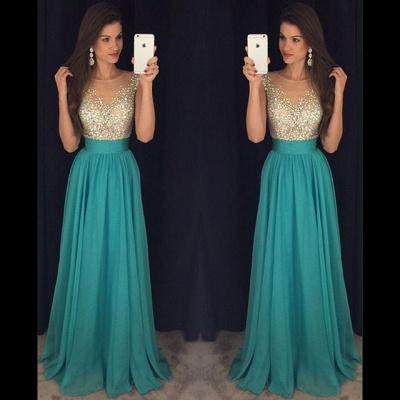 Scoop Floor-Length Elegant Long Crystal Chiffon Prom Dress_3