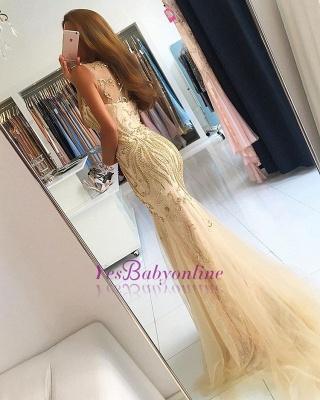 Mermaid Newest Zipper Beads Sleeveless Prom Dress_1