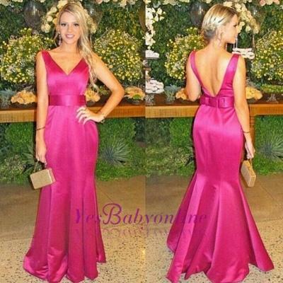 V-neck Floor-length Mermaid Backless Bow Evening Dress_1