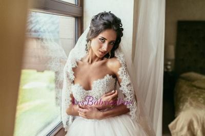 Tulle Glamorous Beadings Princess Sweetheart Lace Wedding Dress_1