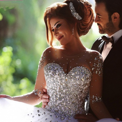 Charming Ball Gown Wedding Dresses Beading Crystals Sheer Long Sleeves Bridal Gowns_6