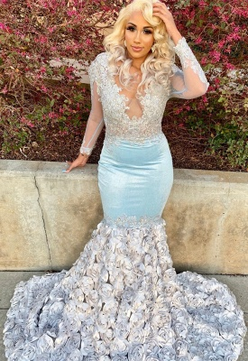 V Neck Long Sleeve Applique Mermaid Prom Dresses | Beading Flowers Evening Gown_3