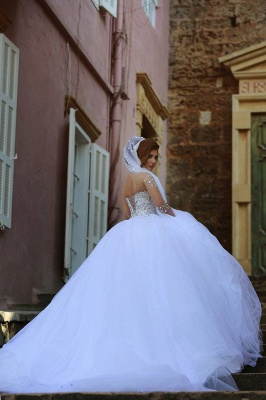 Charming Ball Gown Wedding Dresses Beading Crystals Sheer Long Sleeves Bridal Gowns_5