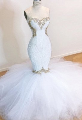 Strapless Sweetheart Mermaid Wedding Dresses with Beads_1