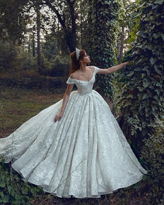 Princess Off The Shoulder Sweetheart Backless Lace Floral Ball Gown Wedding Dresses | Sequin Bridal Gown_4
