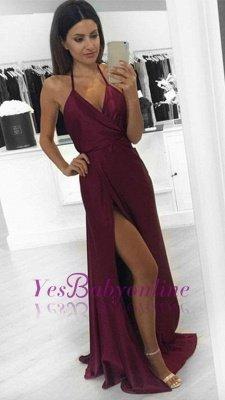Sleeveless Halter Side-Slit Sexy V-neck Long Burgundy Evening Dresses_1