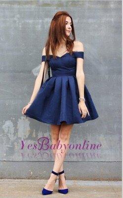 Off-the-shoulder Short Dark-Navy A-line Modest Homecoming Dress_1
