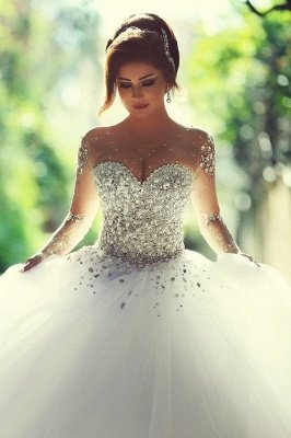 Charming Ball Gown Wedding Dresses Beading Crystals Sheer Long Sleeves Bridal Gowns_2