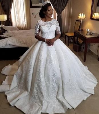 Plus Size Jewel Half Sleeve Applique Beading Ruffles Ball Gown Wedding Dresses_2