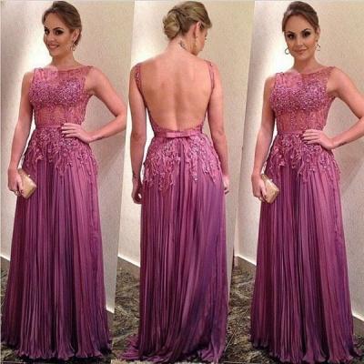 Sleeveless Appliques Ruffles A-Line Elegant Backless Prom Dresses_3