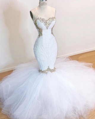 Strapless Sweetheart Mermaid Wedding Dresses with Beads_2