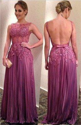 Sleeveless Appliques Ruffles A-Line Elegant Backless Prom Dresses_2