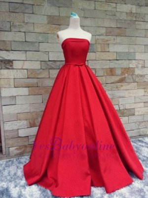 Puffy Strapless Simple Red Bows-Sashes Prom Dresses_1