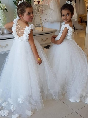 Sweet Tulle Appliques Backless Flower Girl Dresses with Pearls_1