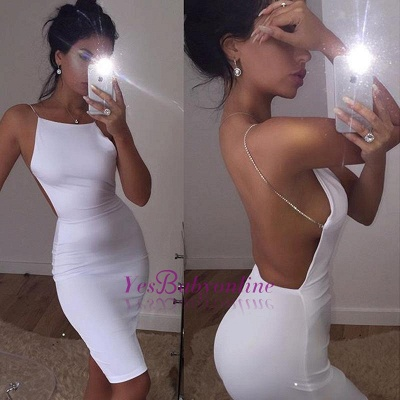 Spaghetti-Strap Mini Backless Modern Sleeveless White Cocktail Dress_1