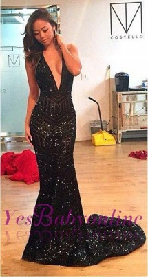 Sequins Mermaid Black Halter Open-Back Deep-V-Neck Prom Dress_1