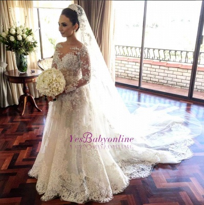 Royal Tulle Lace Glamorous Beadings Long  Sleeves Wedding Dress_1