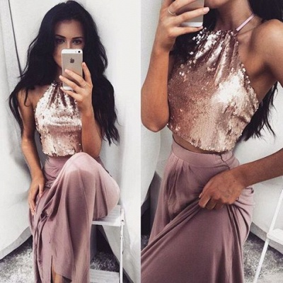 Sequins Sleeveless Two-Piece Glossy Long Halter-Neck Prom Dresses_3