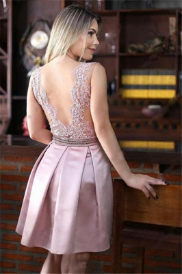 Pink Sheer Tulle A-Line Homecoming Dresses Cheap | Sleeveless Beaded Appliques Short Homecoming Dress_3