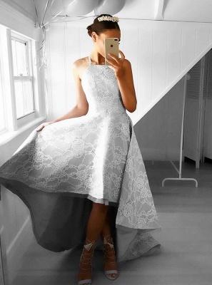 Hi-Lo Halter Sleeveless Elegant Lace A-line Prom Dresses_3