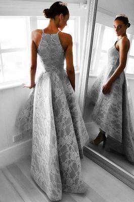 Hi-Lo Halter Sleeveless Elegant Lace A-line Prom Dresses_4