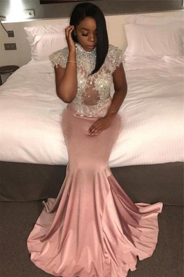 Mermaid Crystal High-Neck Cap-Sleeve Pretty Prom Dress_2