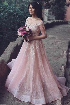 A-Line Pink Long Applique  Half-Sleeve Prom Dresses_3