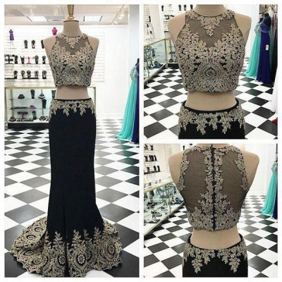 Appliques Crystal Two-Pieces Black Mermaid Sleeveless Prom Dress_3