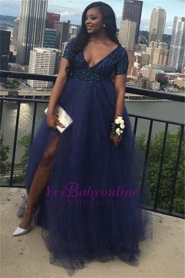 V-Neck  Short-Sleeves A-line Plus-Size Prom Dress_1