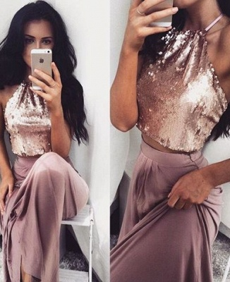 Sequins Sleeveless Two-Piece Glossy Long Halter-Neck Prom Dresses_2