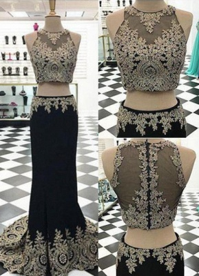Appliques Crystal Two-Pieces Black Mermaid Sleeveless Prom Dress_2