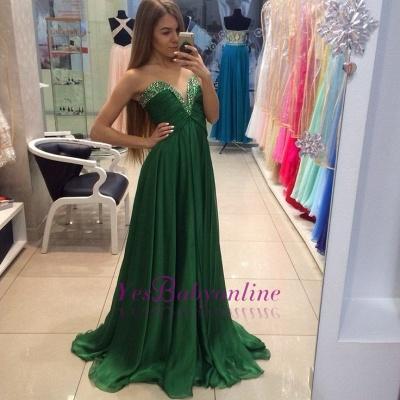 A-line Elegant Green Sleeveless  Sweetheart Evening Dress_1