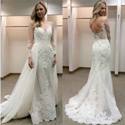 Open-Back Tulle Simple Column Appliques Long Sleevess Wedding Dress_3