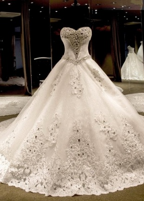 Glamorous Sweetheart Crystals Lace-up Puffy Wedding Dresses_1
