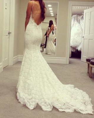 Spaghetti Straps Backless Simple Sexy Mermaid Wedding Dresses Bridal Gowns_2
