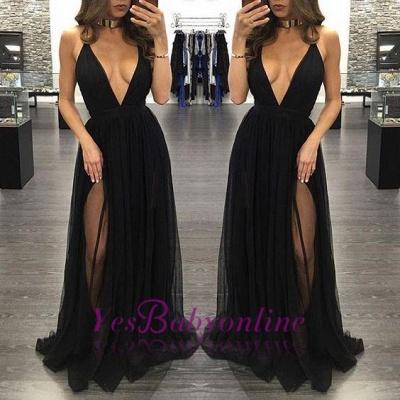 Black Backless Side-Slit Sexy Sleeveless  V-Neck Prom Dress_1