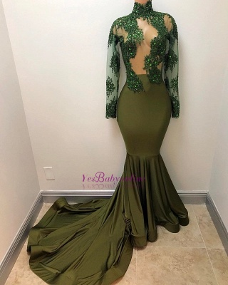 Gorgeous Long Illusion Mermaid High-Neck Long-Sleeves Prom Dresses_1