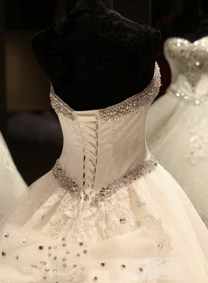 Glamorous Sweetheart Crystals Lace-up Puffy Wedding Dresses_6