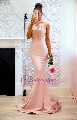 Sweep-Train Applique Halter Mermaid Lace Elegant Prom Dresses_1