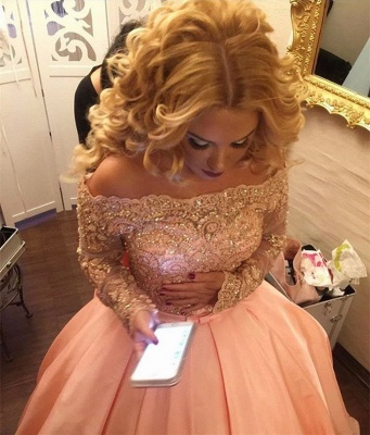 Off-the-Shoulder Long-Sleeves Gold-Lace Ball-Gown Bowknot Prom Dresses BA4764_3
