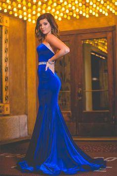 Velvet Sweetheart Charming Royal-Blue Backless Mermaid Crystals-Belt Prom Dress_3