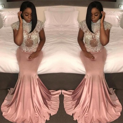 Mermaid Crystal High-Neck Cap-Sleeve Pretty Prom Dress_3