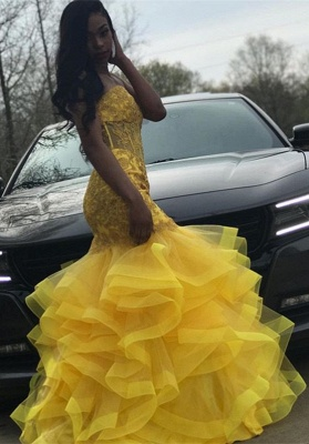 Yellow Sexy Sweetheart Sleeveless Applique Lace Mermaid Prom Dresses | Ruffles Tiered Evening Gown_4