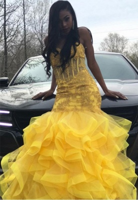 Yellow Sexy Sweetheart Sleeveless Applique Lace Mermaid Prom Dresses | Ruffles Tiered Evening Gown_3